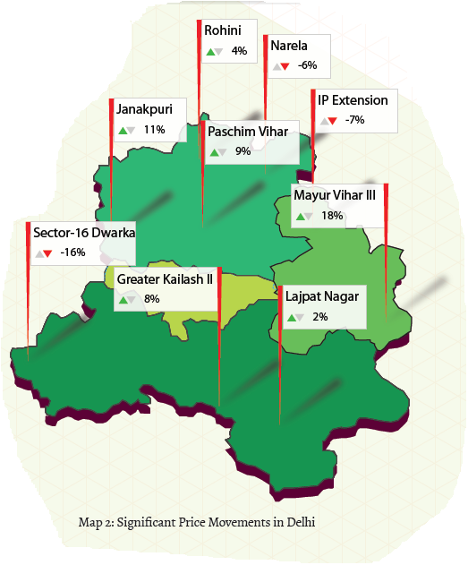 North, East, West, South and Dwarka map