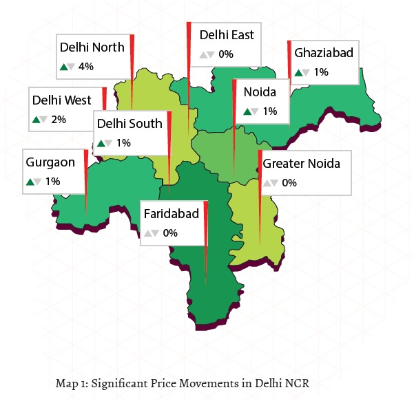 Significant price movements in Delhi NCR Jan-Mar 2015