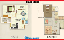 Floor Plans of 1 and 1.5BHK