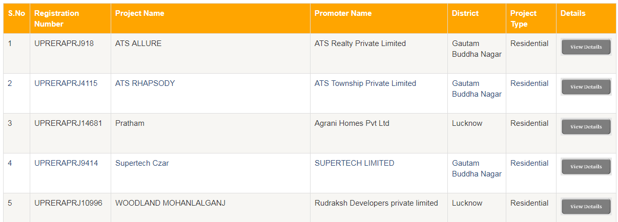 How to find project details on UP RERA website?