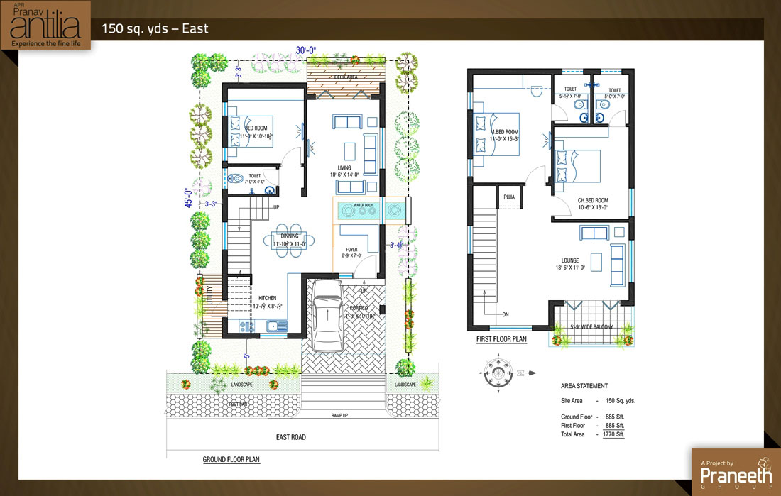 40 x 45 east facing house plans for Group house plans